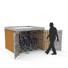 The FalcoCrea was developed from a growing demand for secure cycle storage for private homes and community neighbourhoods. Outside Bike Storage, Garden Bike Storage, Outdoor Storage, Garage Velo, Cycle Shelters, Locker Designs, Bike Shelter, Cycle Storage, Diy Garage Storage
