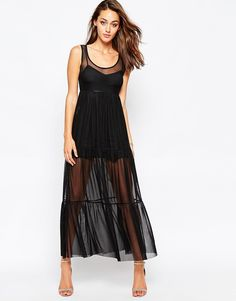 Image 1 ofOh My Love Maxi Dress with Sheer Skirt