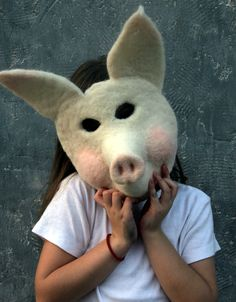 needle felted Pig Mask by Laura Lee Burch