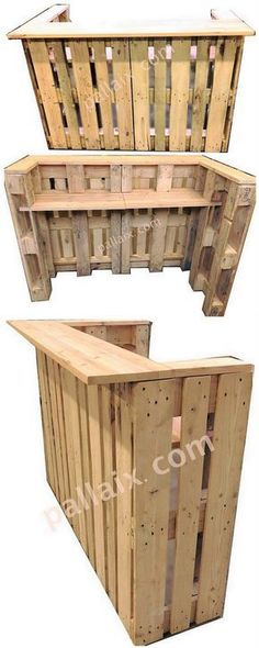 A custom image tutorial of the wood pallet best bar counter design work has been created out here for you. This bar counter design of wood pallet is open from the backrest side whereas the front side of the bar counter will make you visible with the shelving portion.
