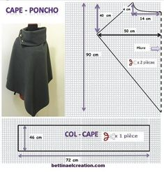 Made in france: DIY: Cape/ Poncho, tutoriel couture gratuit sew einfach clothes crafts for beginners ideas projects room Diy Clothing, Sewing Clothes, Clothing Patterns, Dress Patterns, Sewing Patterns, Sewing Tutorials, Sewing Hacks, Sewing Projects, Diy Projects
