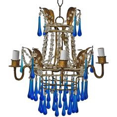 Italian Gilt Chandelier With Glass Blue Glass Drops  found at www.rubylane.com @rubylanecom