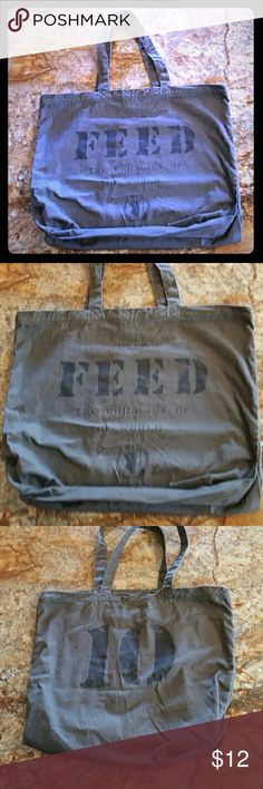 """FEED Bulldog Drummond Tote Bag FEED tote bag from Bulldog Drummond in like new condition. Army green color.   From their site: """"FEED creates good products that help feed the world. They do this through the sale of FEED bags, accessories and apparel which all have a donation embedded into the cost. Thus the impact of each product, signified by a stenciled number, is understandable, tangible, and meaningful.""""  I always ship same or next day :) Bags Totes"""