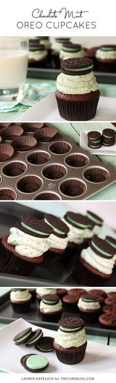 Oreo frosting, topper and surprise inside! | Triple Mint Oreo Cupcakes | by Lauren Kapeluck for TheCakeBlog.com