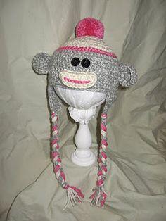 Crochet girl sock monkey hat $19.00