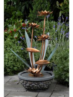 Metal Flower Outdoor Water Fountain