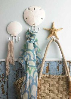 starfish and sea shell hooks