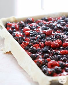 Mixed Berry Slab Pie. Are you kidding me? I could plunge right into this marvelous concoction of berries and sugar...no fork needed. Haha. I would seriously use one though:)