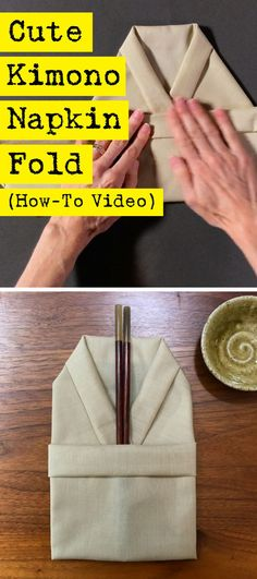 Adorable and easy napkin folding in the shape of a kimono. Perfect for your next Veggie sushi dinner party. Comment Dresser Une Table, Easy Napkin Folding, Folding Napkins, Japanese Party, Asian Party, Cute Kimonos, Sushi Party, Etiquette, Form