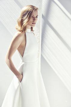 Modern halterneck wedding dress by Suzanne Harward