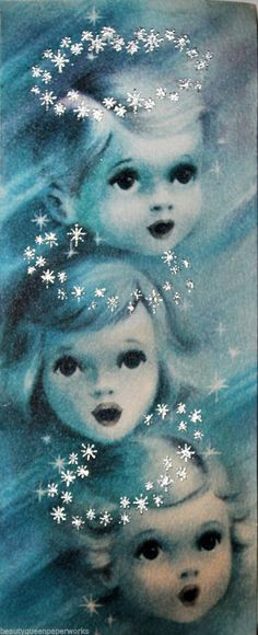 Three Sweet Little Angels Silver Glitter Stars 1940's Vintage Christmas Card | eBay