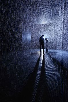 "The Rain Room, opening at London's Barbican Center on Oct. is ""a 100 square metre field of falling water for visitors to walk through and experience how it might feel to control the rain."" It was conceived by experimental art group Random International. Stop The Rain, Barbican, Installation Art, Underwater, Contemporary Art, Waterfall, Weird, The Incredibles, Weather"