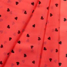Mini Black Hearts on Neon Orange Chiffon Print Fabric Sequin Fabric, Chiffon Fabric, Retro Chic, Fabric Shop, Black Heart, Sheer Fabrics, Chic Dress, Printing On Fabric, Hearts