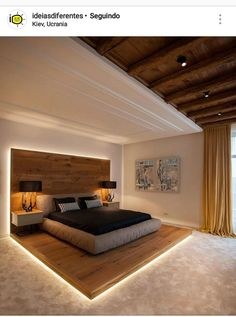 interesting bedroom design with wood interior design- interessantes Schlafzimmer Design mit Holz beim Innendesign interesting bedroom design with wood interior design - Bedroom Lamps Design, Luxury Bedroom Design, Master Bedroom Design, Home Decor Bedroom, Bedroom Ideas, Master Bedrooms, Bedroom Decor, Bed Ideas, Furniture Design For Bedroom