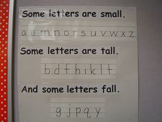 Some letters are tall, some letters are small, some letters fall. Good reminder for early writers.