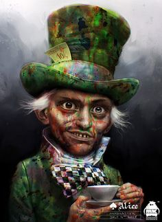 These are the early concept art works made by michaelkutsche down at deviantART who actually worked for Tim Burton and helped create the design for Johnny's Mad Hatter
