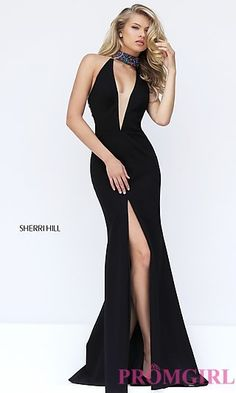 Black Low V-Neck Sherri Hill Prom Dress at PromGirl.com