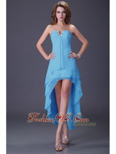 Clearance High Low Three Layers Chiffon Prom Dress under 100 Dollars- $94.86  http://www.fashionos.com  | prom dress with layers | chiffon high low prom dress | layered prom dress | clearance high low prom dress | chiffon front short back long homecoming dress | plus size bridesmaid dress | aqua blue high low prom dress | high low dress for prom party | aqua blue dress with silver beading