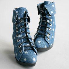 48 Jeans Blue Dots 1 3 SD BJD DOD Dollfie Heels Synthetic Leather Shoes 7 5cm | eBay