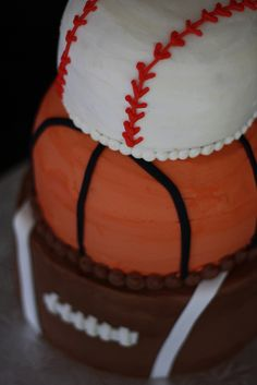 Baseball, Basketball, Football Cake