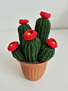 Here are 5 Amigurumi Crochet Cactus Free Pattern for you tu try out! Crochet Flower Patterns, Crochet Flowers, Crochet Dolls, Knit Crochet, Crochet Cactus, Mini Cactus, Amigurumi Patterns, Amigurumi Free, Planting Succulents