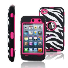 Zebra Pattern Hybrid 3in1 Hard Rubber Case Cover for iPod touch 4 4TH Gen Rose