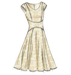 V8972, Misses' Dress    Also has a straight skirt option  I like the waist detail;