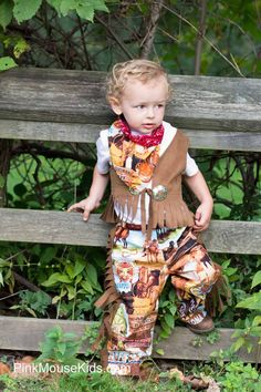 Living out West isn't a requirement for your little boy, but when he's wearing this outfit people might think that he does! The perfect outfit for your little cowboy. Adorable, comfortable and functional this outfit is one that is hard to pass up. Perfect for birthday parties, rodeo trips or help...