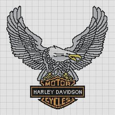 Carrie's Cross Stitch Message Board: Re: Harley Davidson Eagle Cross Stitch Bird, Beaded Cross Stitch, Crochet Cross, Crochet Chart, Counted Cross Stitch Patterns, Cross Stitch Charts, Cross Stitching, Cross Stitch Embroidery, Embroidery Patterns