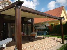 Pergole retractabile Gibus, aplicatii pentru terase. Terase umbrite cu pergole lemn Med Elite. Calitate si design Gibus pentru terase.