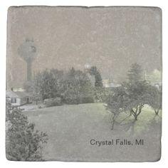 Crystal Falls MI Marble Coasters - Xmas ChristmasEve Christmas Eve Christmas merry xmas family kids gifts holidays Santa