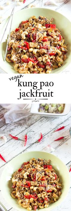 Taking just 15 minutes to cook, this easy vegan kung pao jackfruit is better than anything you'll get from a takeaway. The Thai birds eye ch. Vegan Dinner Recipes, Delicious Vegan Recipes, Whole Food Recipes, Entree Recipes, Vegan Foods, Vegan Vegetarian, Vegetarian Recipes, Vegan Snacks, Vegan Meals