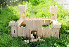 Wooden Castle, Eco Kids Toy, Doll House, Wooden horse, knight, Handmade Gift