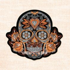 Purple Mexican Sugar Skull Embroidered Patch Iron-on Good Luck Charm Calavera