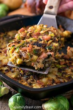 Bubble and Squeak with Ham - A delicious version of the traditional English dish. Brussel sprouts, ham, and potatoes - a great way to cook with leftovers from a holiday meal! Pork Recipes, Cooking Recipes, Healthy Recipes, Recipes With Ham, Tasty Meals, Cabbage Recipes, Recipies, English Dishes, English Meals