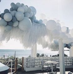 Ballon intall with fringes Balloon Installation, Balloon Backdrop, Balloon Garland, Balloon Decorations, Birthday Party Decorations, Birthday Parties, Wedding Decorations, Baby Shower Centerpieces, Baby Shower Favors