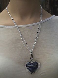 Black, White and Clear Heart Pendant