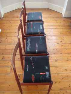 Calligraphic Dining Chairs - Sally Nencini - Bespoke upholstery and knits for the home Home Decor Furniture, Furniture Projects, Painted Furniture, Furniture Design, Manufactured Home Remodel, Teak Dining Chairs, Home Remodeling Diy, Home Decor Pictures, My New Room