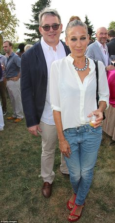 Picnicking: Sarah Jessica Parker (right) and Matthew Broderick (left) attended a $1000 per plate benefit in Bridgehampton, New York on Sunday