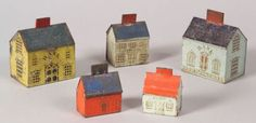 FIVE TIN HOUSE BANKS, AMERICA, LATE 19TH CENTURY