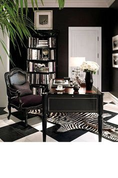 Chic Home Office; dramatic black and white floor and decor This room is great be… – Chic Home Office Design Home Office Space, Home Office Design, Home Office Decor, House Design, Office Ideas, Office Spaces, Office Designs, Office Style, Office Furniture