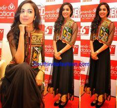 Ritu Varma attended Kalamandir Foundation 4th Anniversary event in black net anarkali with embroidered short jacket.