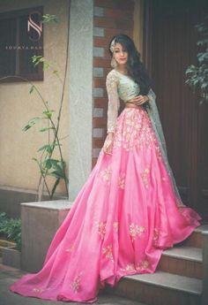 Pink And Turquoise Feminine Engagement Lehenga