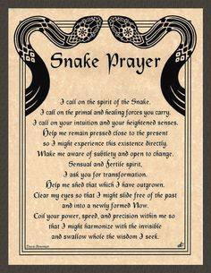 SNAKE Prayer Shaman Poster Animal Spirit Guide Art Celtic Wicca Native American