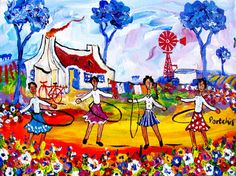 Artwork of Portchie exhibited at Robertson Art Gallery. Original art of more than 60 top South African Artists - Since South African Artists, Dream Art, Naive Art, Whimsical Art, Pretty Pictures, New Art, Folk Art, Original Art, Art Gallery