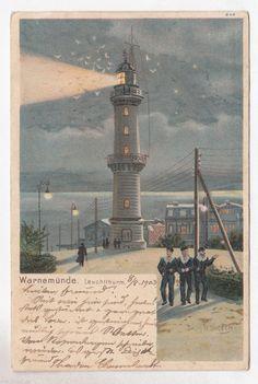 Warnemünde (Rostock), Leuchtturm mit Matrosen 1903