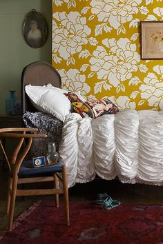 "Paeonia Wallpaper - anthropologie.com $148 Roll: 30'L, 27""W Gold repeat: 27""L Covers 60 square feet"