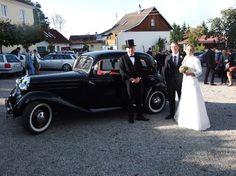 Diesen Oldtimer Mercedes 170 D, Baujahr 1950, 4-türig in schwarz, inkl. Chauffeur gibts bei hochzeitsauto-allgaeu.de