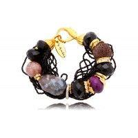 Bransoletka z koralików, kamieni i kryształków
