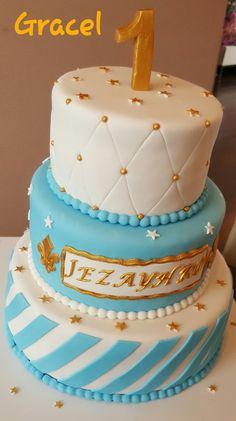 gold white blue cake